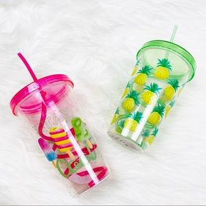 Other - NEW 2 Summer Fruit Pineapple Crazy Straw Tumblers